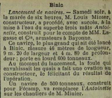 Dépêche de brest du 05 octobre 1898, l'armement Lagasse et Cie de bayonne  arment ses navires morutiers depuis Saint-Malo
