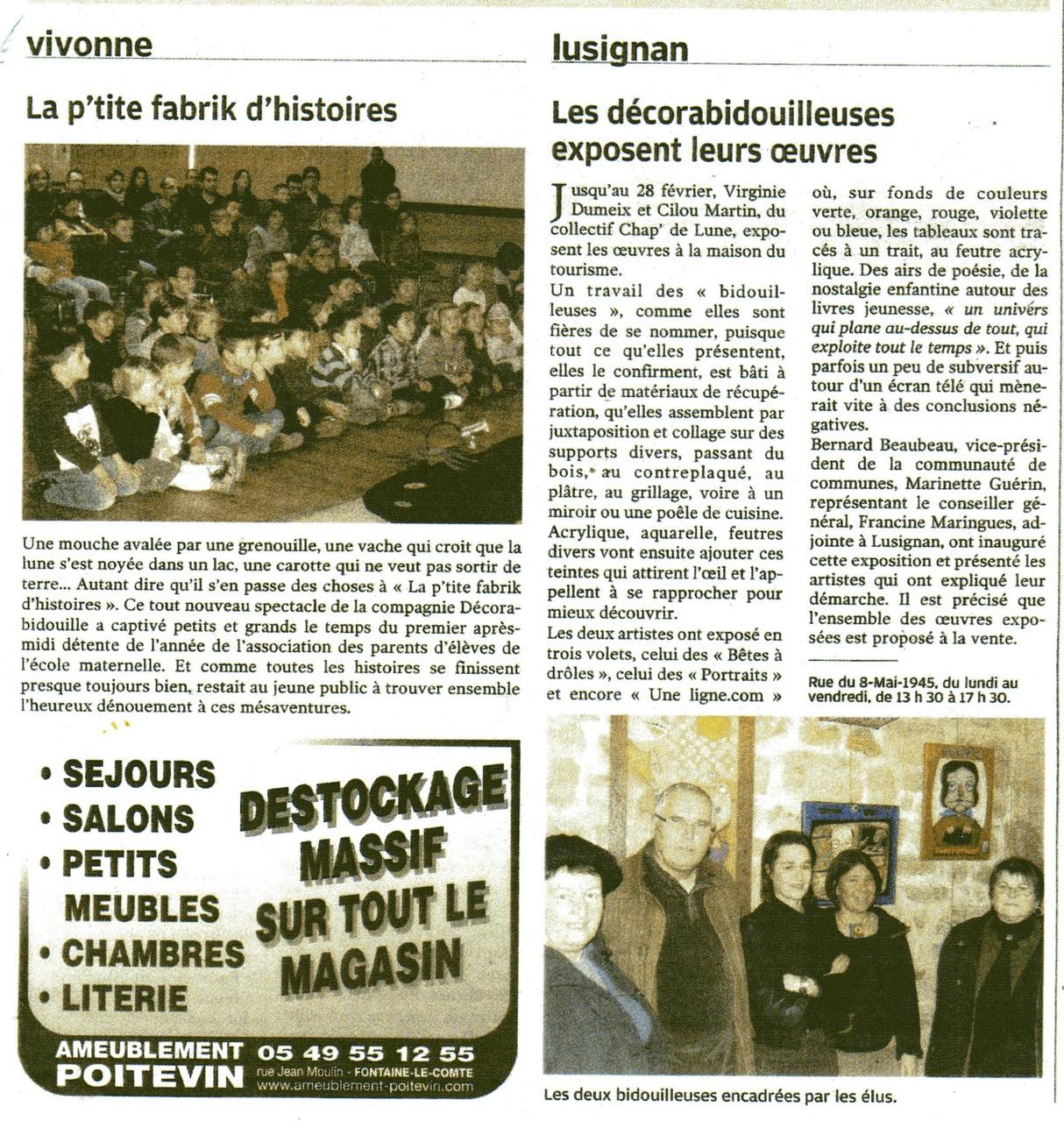 La P'tite fabrik D'histoires à Vivonne et Bidouilles à Lusignan-2012