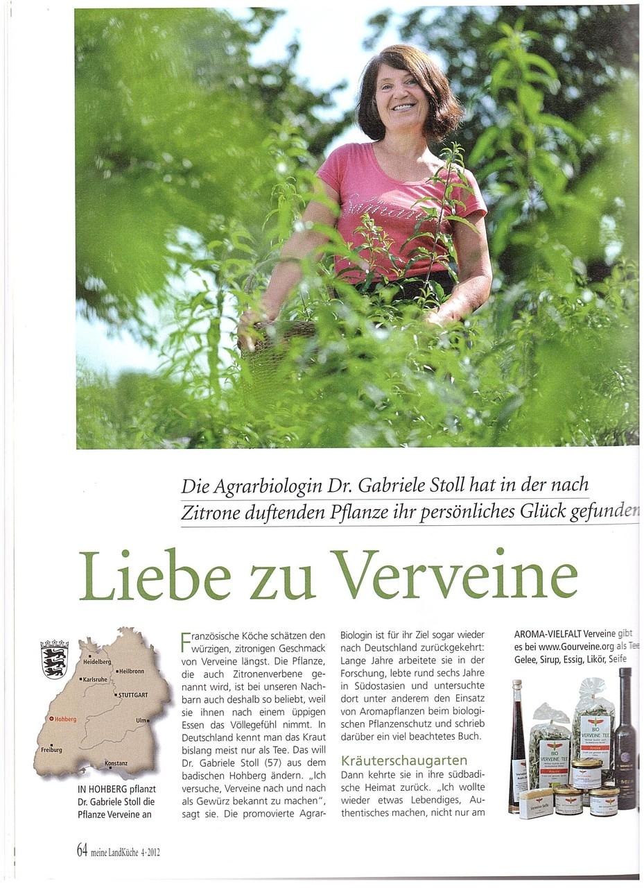 Meine Landküche von Burda Verlag beschreibt die Liebe von Gabriele Stoll zur Verveine Pflanze