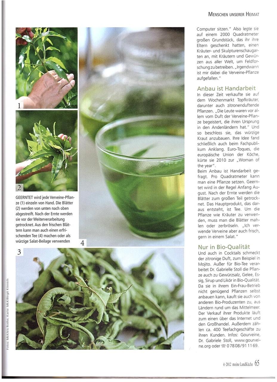 Meine Landküche von Burda Verlag beschreibt die sorgfältige Anbauweise von Bio Verveine Tee in Frau Stolls Teegarten.