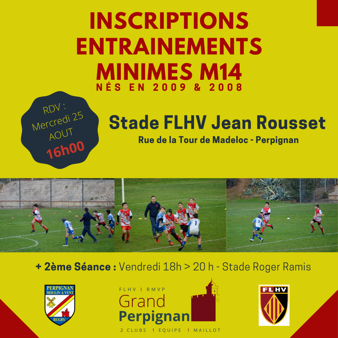 Inscriptions & Reprise Entrainements Minimes M14