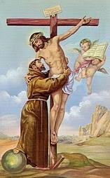 El abrazo de Cristo con San Francisco de Asís