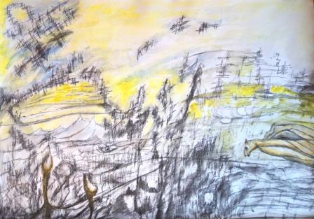 """Auf dem Weg nach Norden"", Aquarell+Gelstift, 50x70 cm"