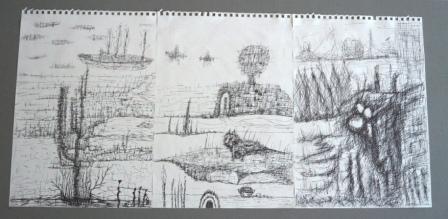 """""""Valentino"""", Gelstift auf Papier, 41x89 cm"""
