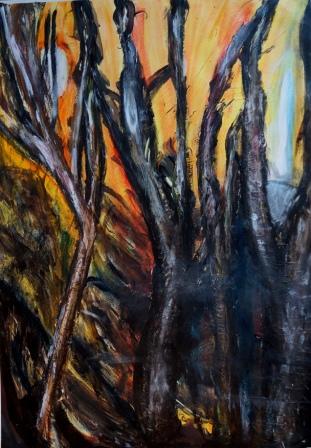 """""""Ein Wald von Tiefe"""", Acryl auf Papier, 68x48 cm"""