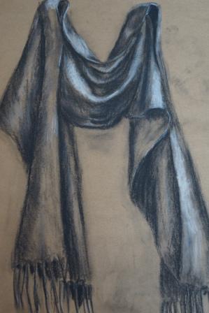 "VERKAUFT/SOLD  ""Schal"", Kohle+Pastell, 48x36 cm"