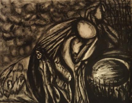 """""""Zukunftswache"""", Ölzeichnung auf Papier, 50x64 cm"""