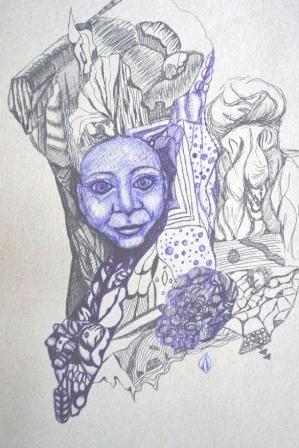 """""""Spiegelbild"""", Kuli+Gelstift auf Pappe, 29x21 cm"""