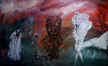 """""""Die unvollendete Professur"""", Acryl+Tusche auf Papier, 65x100cm"""