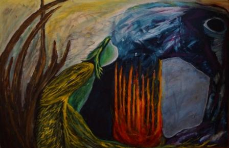 """""""Imagia"""", Acryl auf Papier, 65x100 cm"""