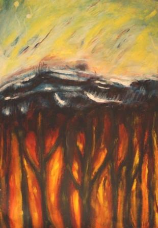 """""""Die Energiequelle"""", Acryl auf Papier, 70x50 cm"""