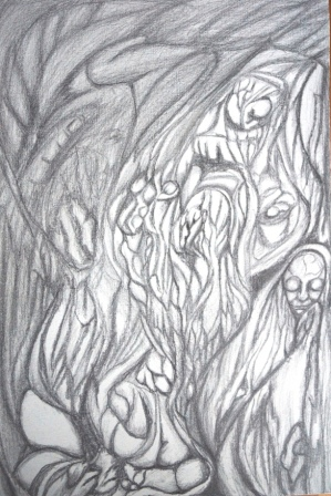 """""""Schlafbewegung"""", Graphit+Bleistift auf Malplatte, 60x40 cm"""