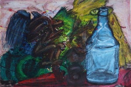 """""""Flaschengeister"""", Acryl+Ölkreide auf Papier, 50x70 cm"""