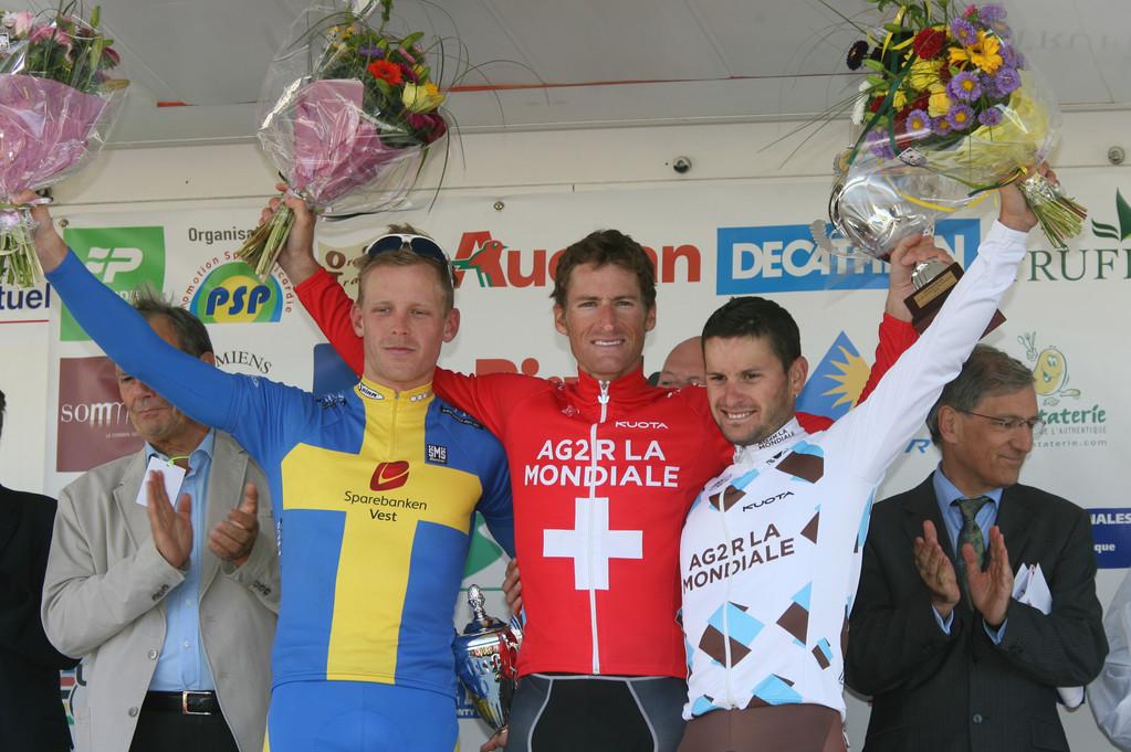 Le podium de gche à drte: Mickael STEVENSON, Martin ELMIGER, Anthony RAVARD (Photo Fred HASLIN Courrier Picard)
