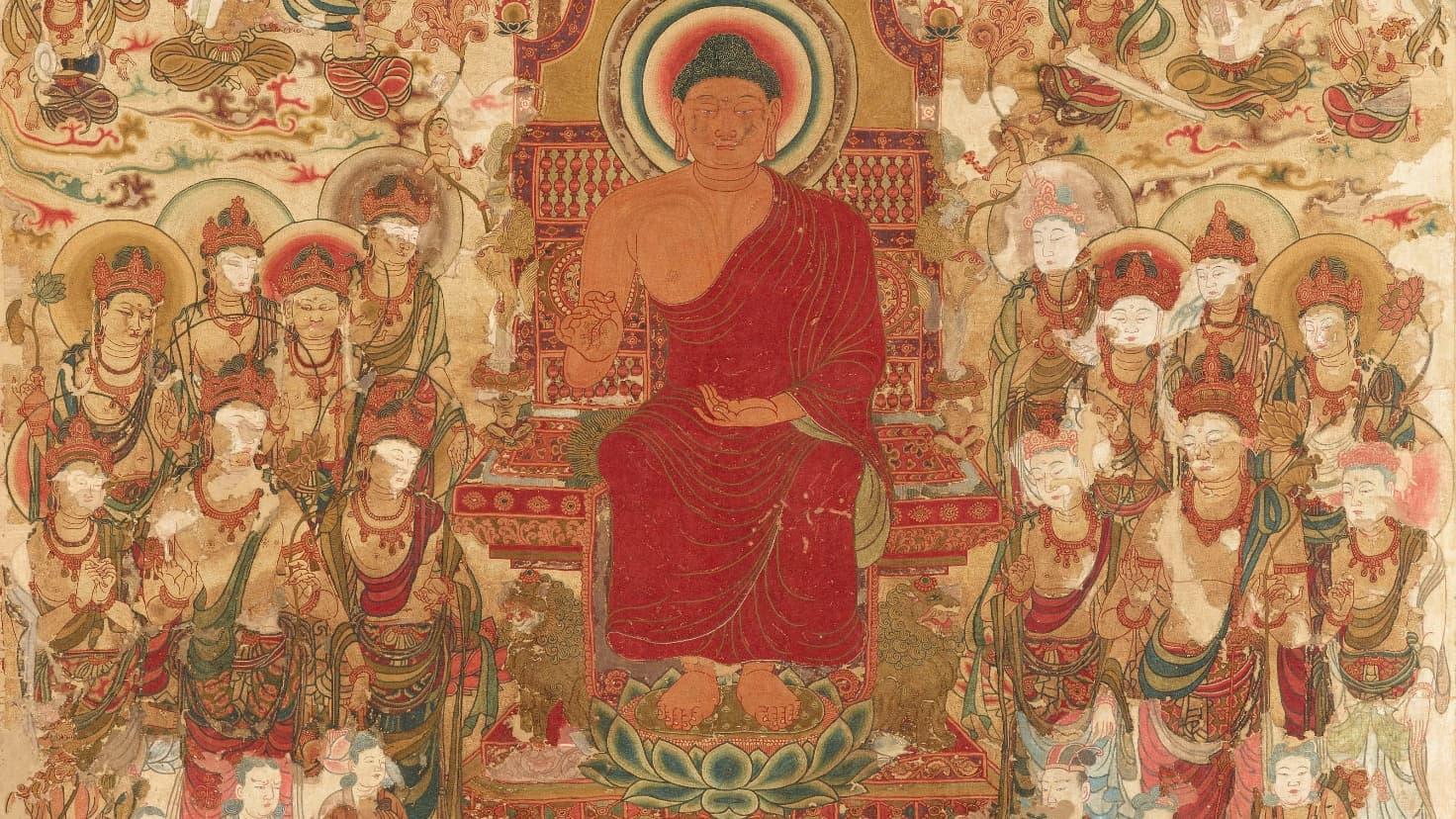 「綴織当麻曼荼羅」は奈良時代に中将姫が蓮糸で一晩で織り上げたと伝わる。約4メートル四方に極楽浄土の様子などを描いたたもので、中国・唐で作られた説もある。平成26~29年度の本格修理完成後初の公開。