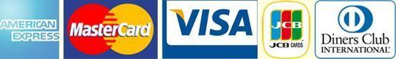 Mastercard, VISA, American Express, Diners und JCB-Karten