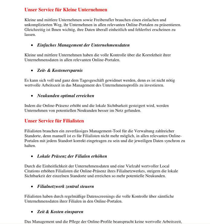 Unser Service für Kleine Unternehmen und Filialisten