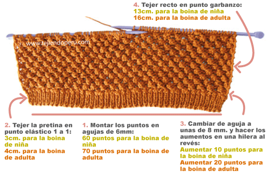 boina caida slouchy knit beret