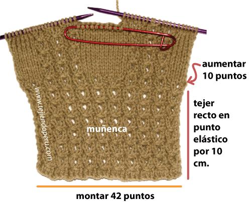 Guantes en dos agujas - Tejiendo Perú