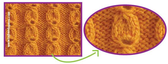 Punto semilla tejido en dos agujas o palitos