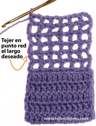 tejiendo el largo de la bufanda primer paso tejer en punto de red por