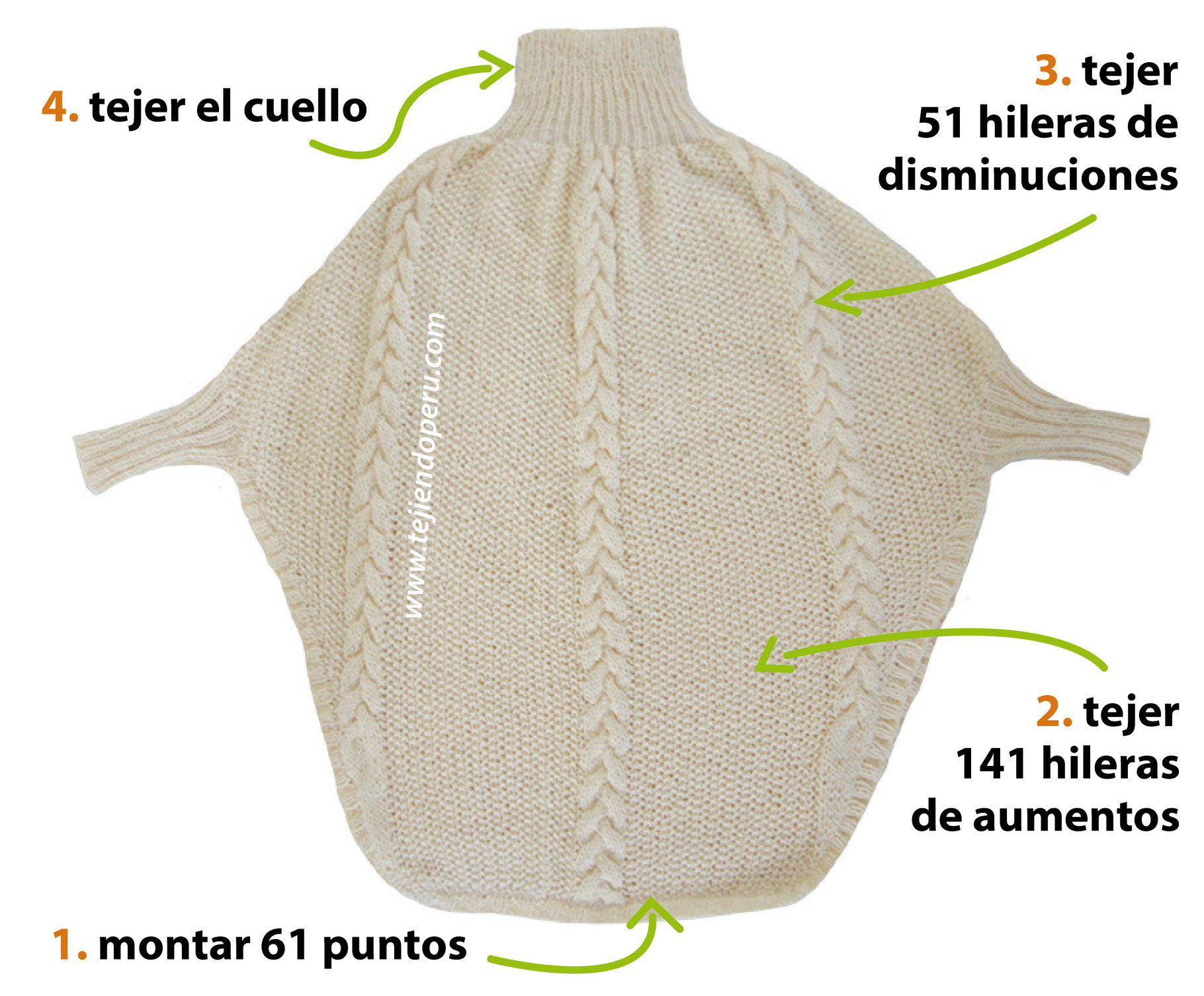 Poncho con trenzas y mangas - Tejiendo Perú