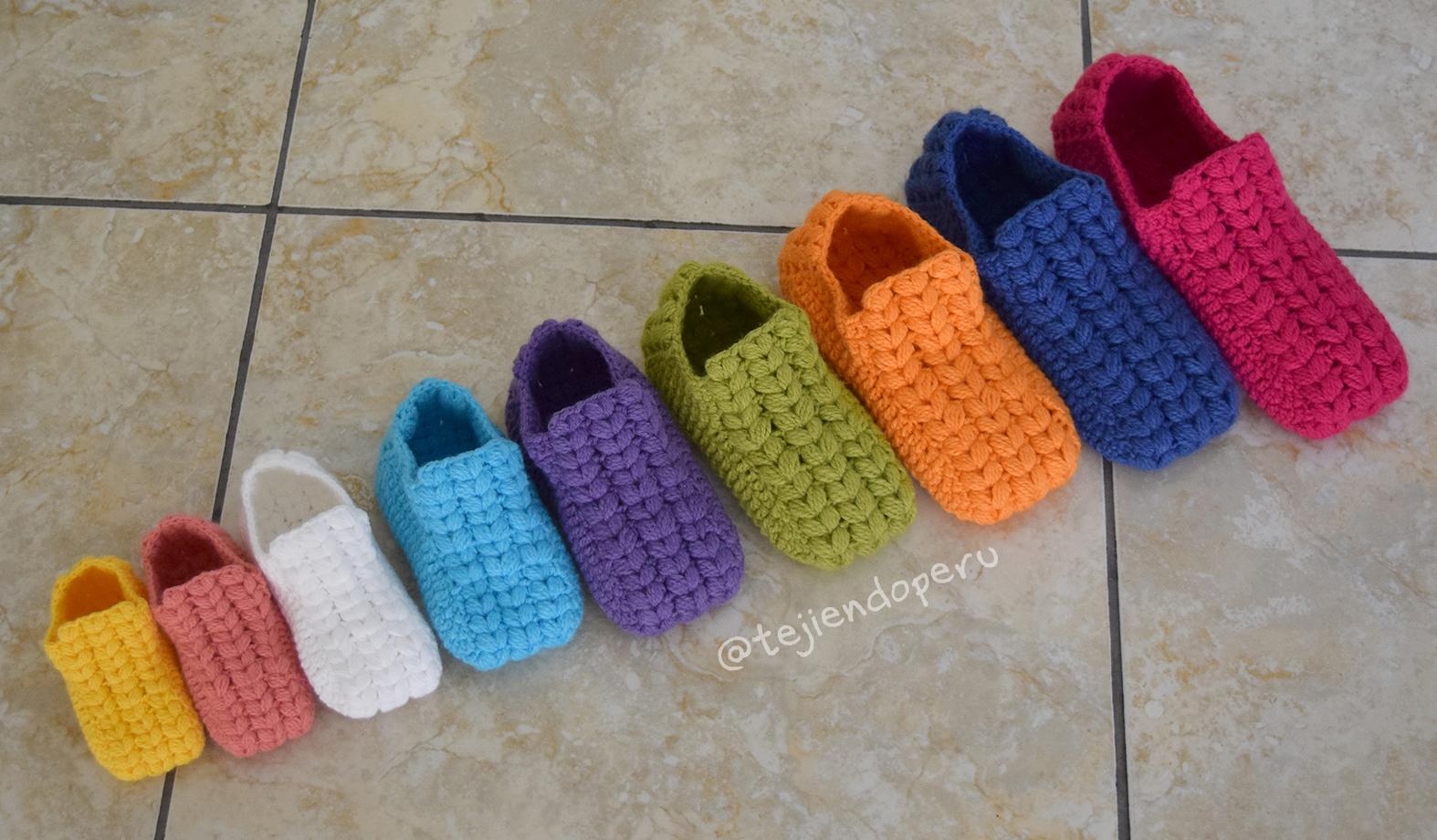 f6fb7ccc0 Zapatos o pantuflas con trenzas gorditas - Tejiendo Perú