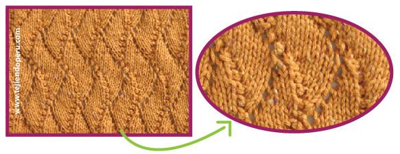 Punto espiral calado tejido en dos agujas o palitos