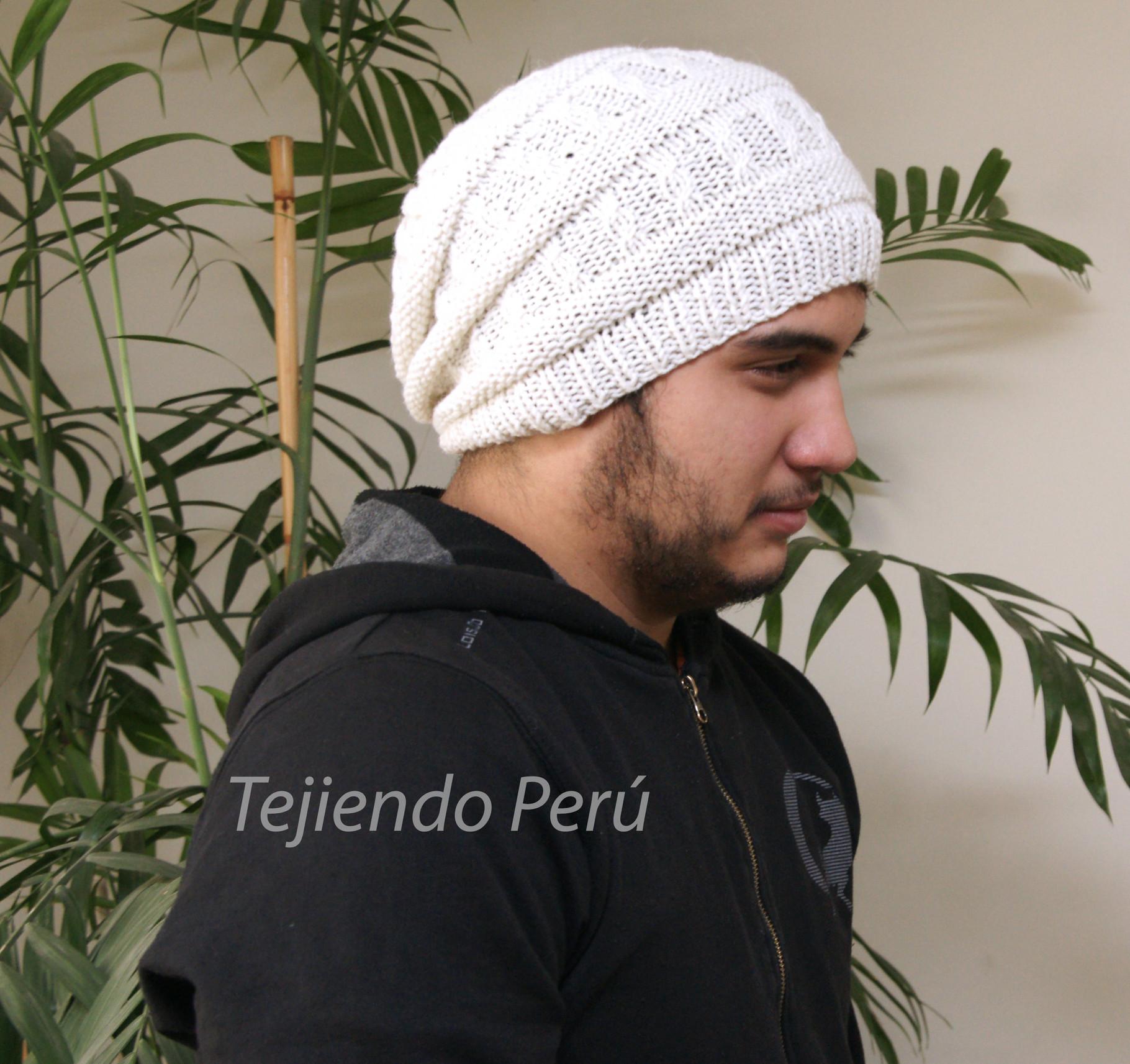 Gorro caído para hombres - Tejiendo Perú