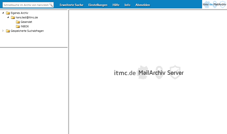 itmc.de MailArchiv WebLogin Hauptfenster