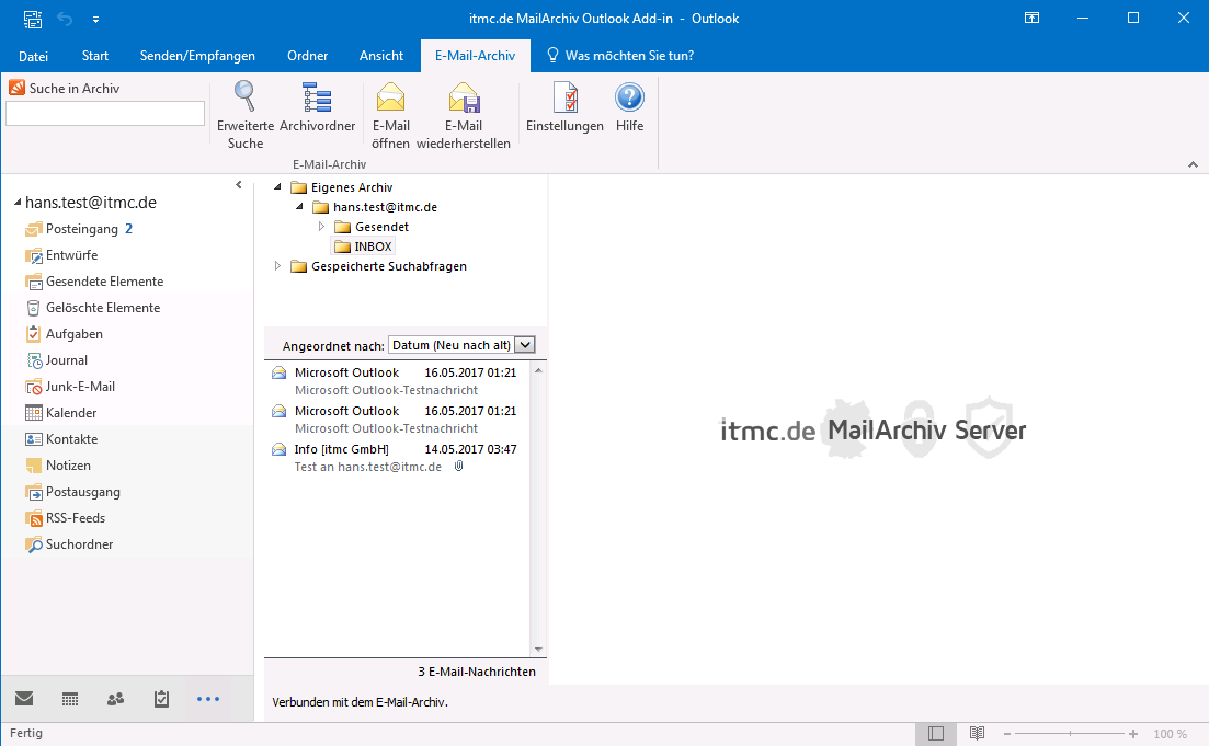 itmc.de MailArchiv Outlook Addin INBOX von hans.test