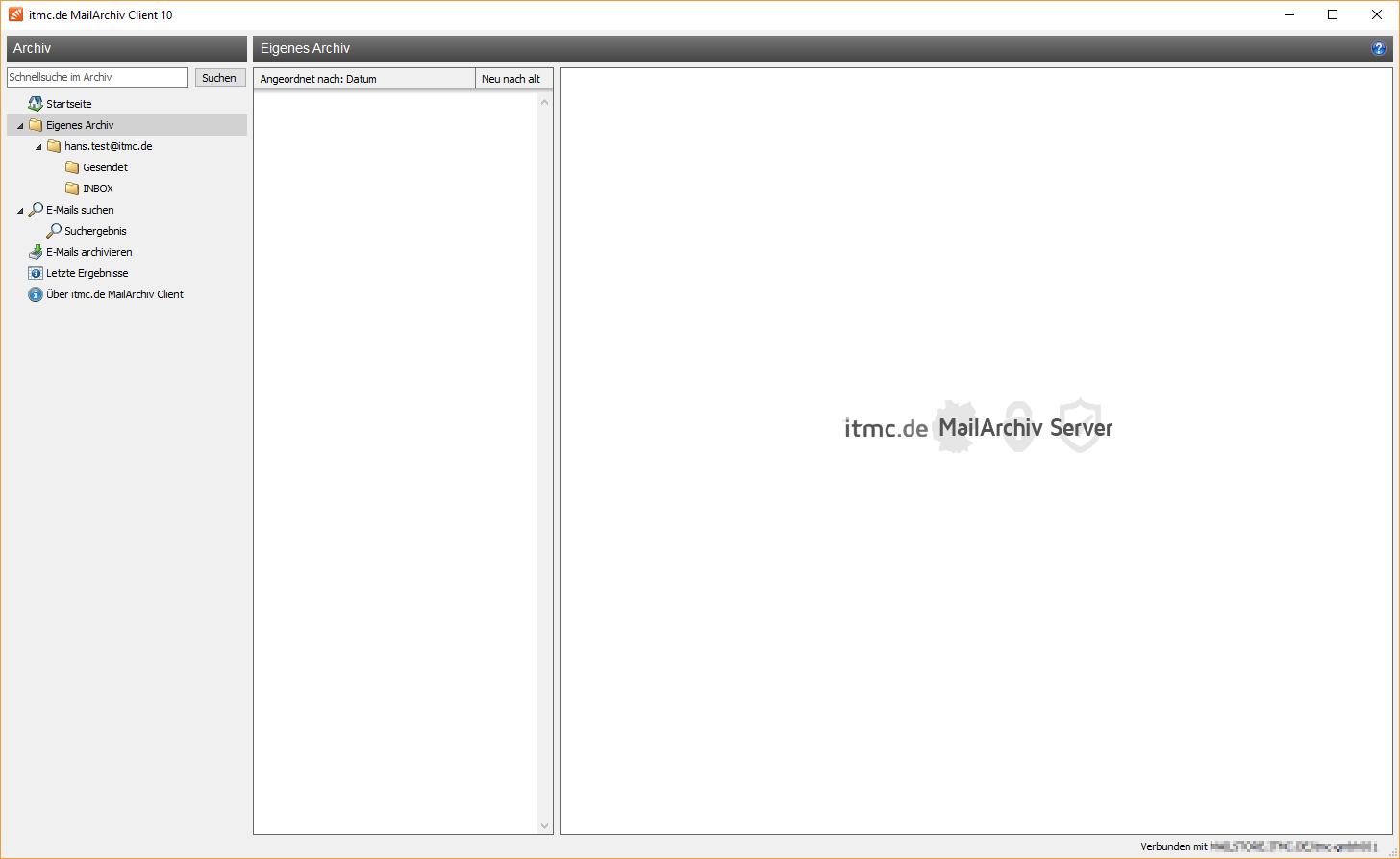 itmc.de MailArchiv Client Archiv von hans.test