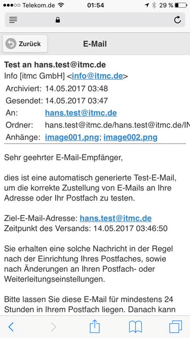 itmc.de MailArchiv MobileClient iPhone Beispielmail