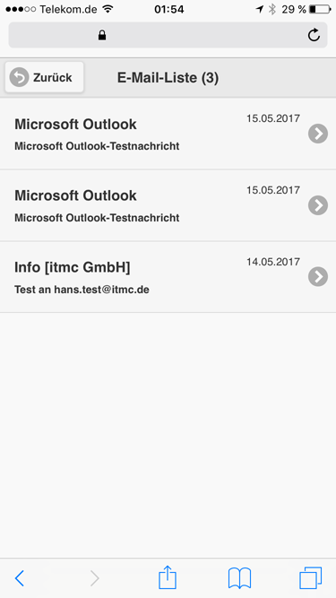 itmc.de MailArchiv MobileClient iPhone INBOX von hans.test