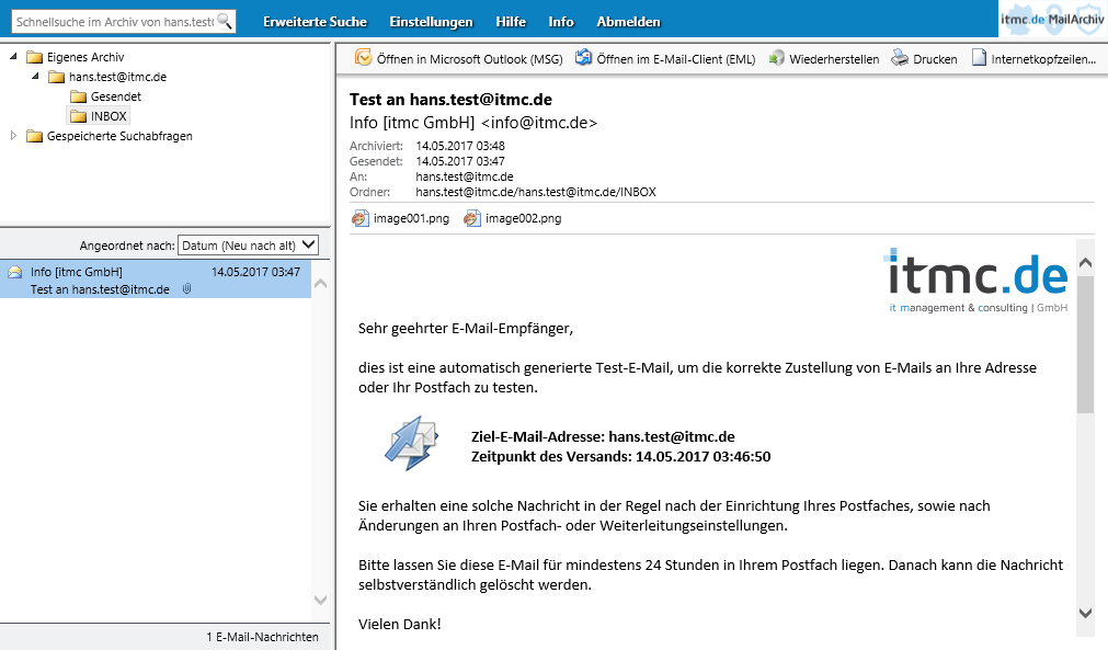 itmc.de MailArchiv WebLogin hans.test INBOX