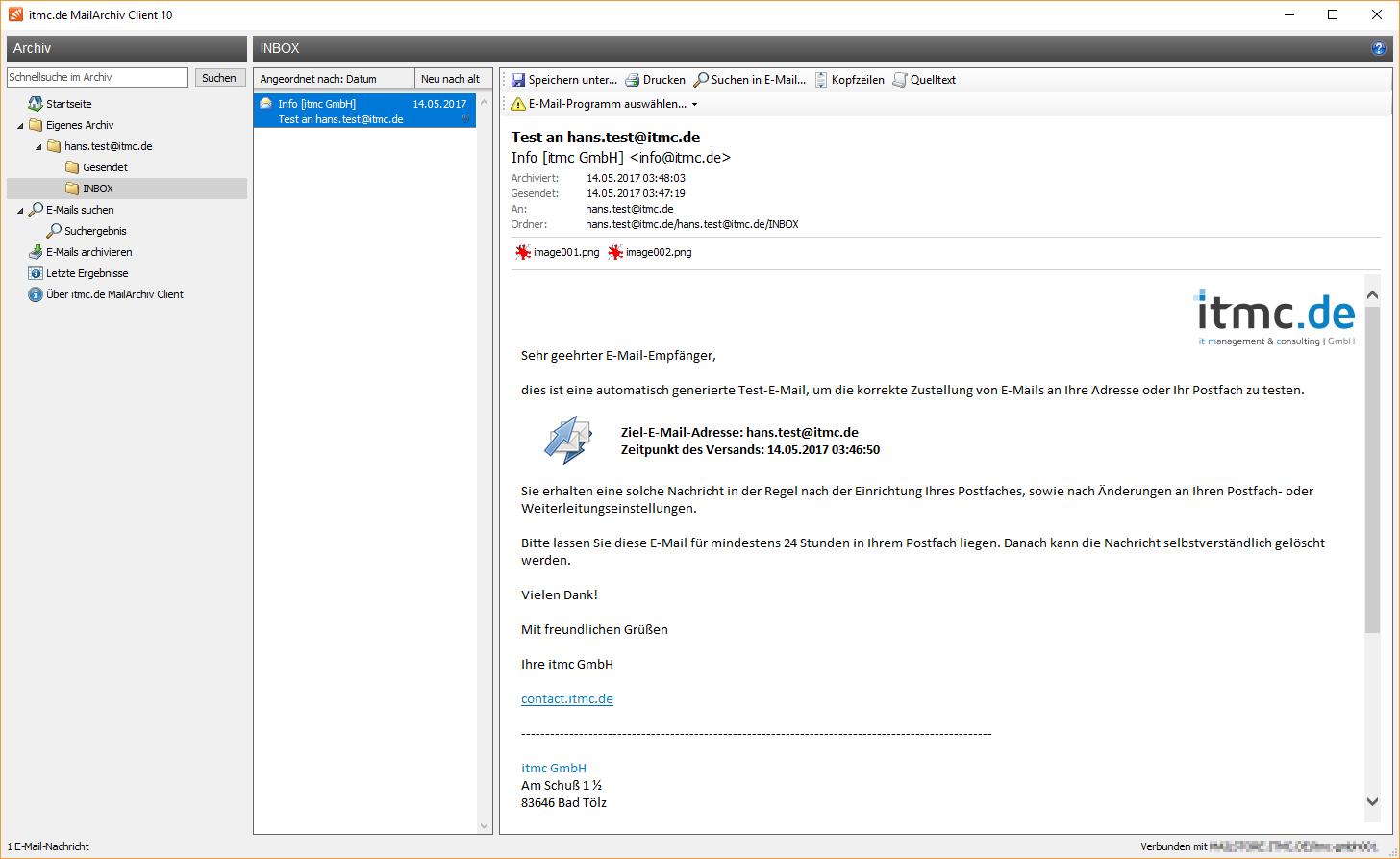 itmc.de MailArchiv Client INBOX von hans.test