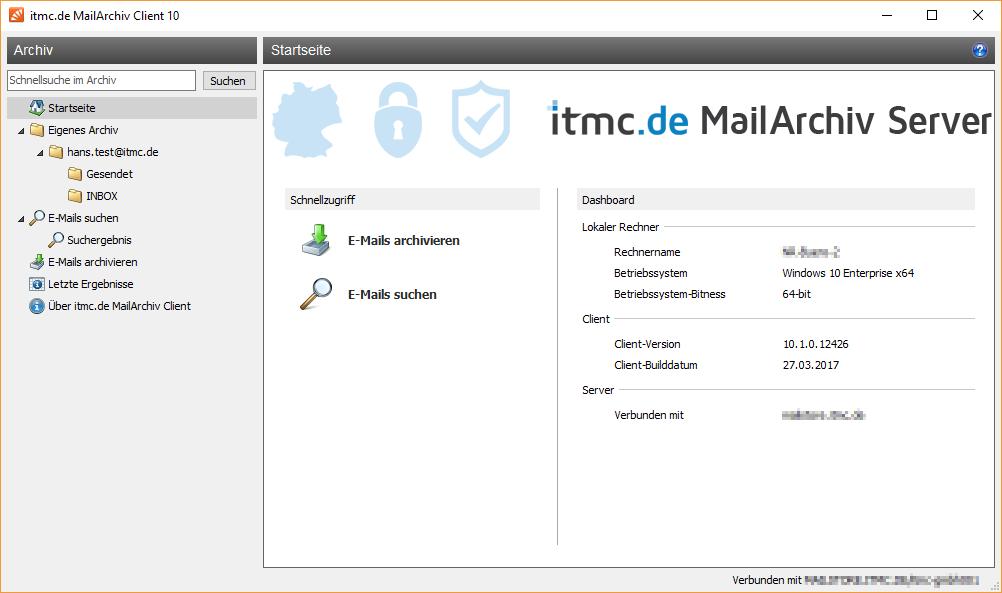 itmc.de MailArchiv Client Hauptfenster