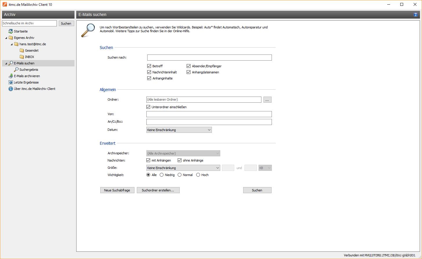 itmc.de MailArchiv Client Suchfunktion