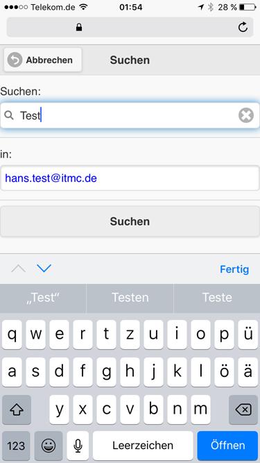 itmc.de MailArchiv MobileClient iPhone Suche