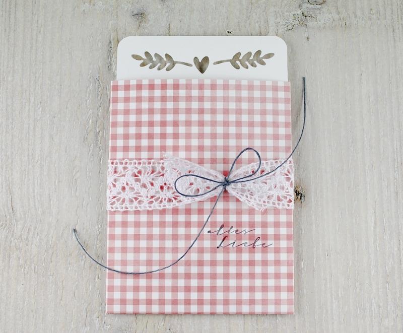 Valentinstag, Ziehkarte, Grußkarte, Karte, rosa vichykaro, Herzchen