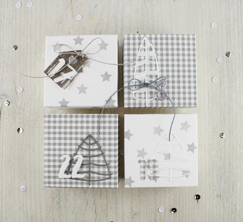 Adventskalender, Box, Tannenbaum, Sterne, Geschenk, Weihnachten
