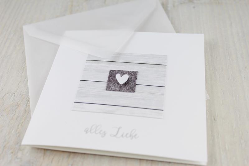 Grußkarte, Kärtchen mit Umschlag, Herzchen, zum Valentinstag
