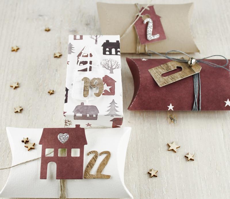 Pillowbox, Box, Geschenk, Adventskalender, Häuschen, Weihnachten