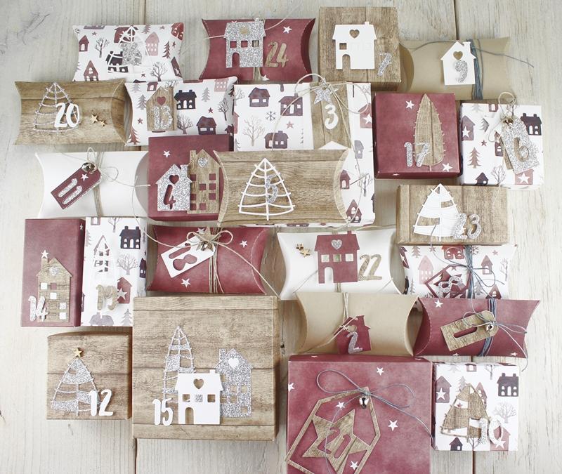 Adventskalender, Tannenbäume, Weihnachten, Box, Pillowbox, Geschenke