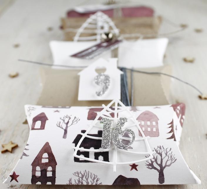 Adventskalender, Pillowbox, Tannenbaum, Weihnachten, Geschenke