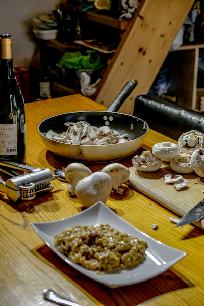 Mushrooms dicing at Positano Home Cooking Class