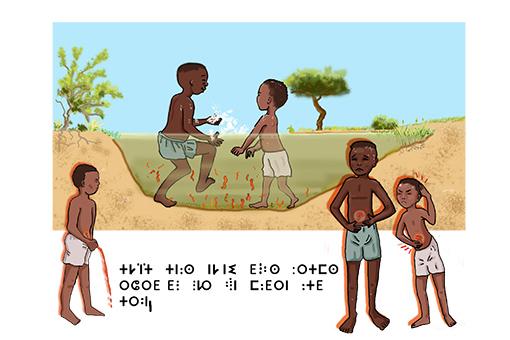 illustration: danger du bain dans les eaux stagnantes: risque de bilharzoze