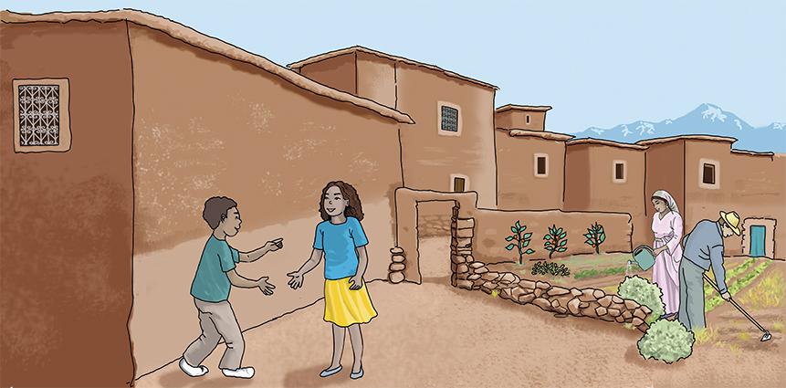 illustration numérique vie au village