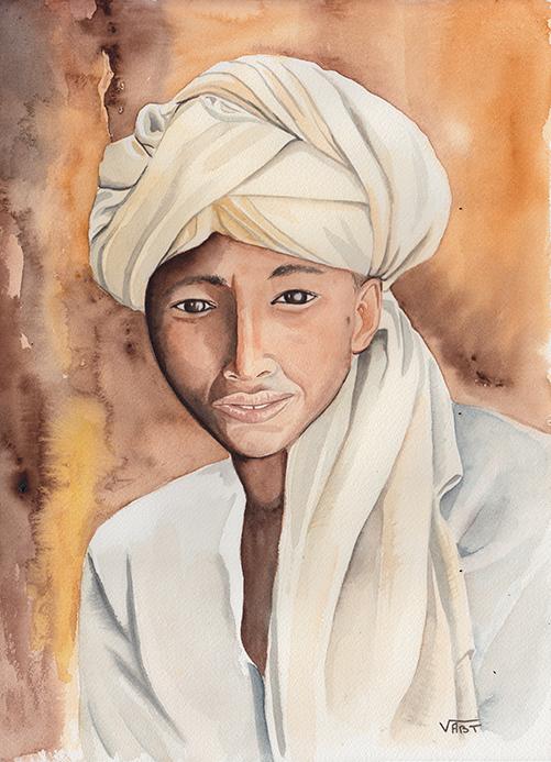 GHERALTA -aquarelle31X41-  portrait d'un jeune prêtre novice rencontré dans le massif du Gheralta
