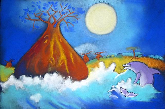 illustration pastel Afrique Baobab